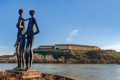 Monument to the victims of the Shoah and Petrovaradin Fortress i. N Novi Sad, Serbia Royalty Free Stock Photography