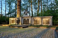 Monument to the victims of the war in Pszczyna, Poland. PSZCZYNA, POLAND - APRIL 22, 2018: Monument to the memory of 205 soldiers of the Polish army in Pszczyna Stock Photos