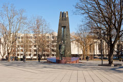 Monument to Vincas Kudirka on the square in Vilnius, Lithuania Stock Photos
