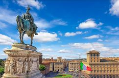 A monument to Vittorio Emanuele on the Altar of the Fatheland and a beautiful view on Piazza Venezia royalty free stock photo