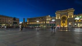 Monument to Vittorio Emanuele II and Galleria Vittorio Emanuele II day to night timelapse on the Piazza del Duomo. Monument to Vittorio Emanuele II and Galleria stock footage