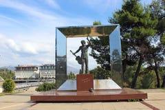 The monument to Vladimir Vysotsky. PODGORICA - SEPTEMBER 22: The monument to Vladimir Vysotsky on September 22, 2015 in Podgorica, Montenegro Stock Image