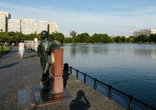 Monument to Vladimir Zvorykin on the bank of the Ostankino pond in Moscow stock images