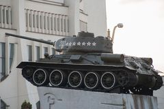 Monument to Warriors-Liberators in World War II tank T-34 at Soviet square. Grodno, Belarus royalty free stock photo