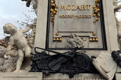 The monument to Wolfgang Amadeus Mozart in the Burggarten in Vienna. VIENNA, AUSTRIA - NOVEMBER 30, 2012:The monument to Wolfgang Amadeus Mozart in the Royalty Free Stock Photography