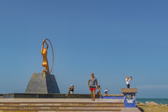 Monument to Women Fortaleza Brazil. FORTALEZA, BRAZIL, DECEMBER - 2015 - People at monument dedicated to woman, a modern sculpture located at iracema beach in stock photo