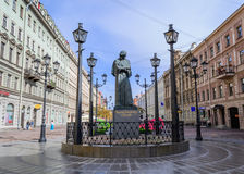 The monument to the writer Gogol. The monument to the famous writer Gogol in St. Petersburg. The monument is located on Malaya Konyushennaya in the center of royalty free stock images