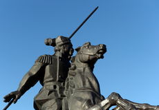 Monument to Yakov Baklanov, the Russian general, the hero of the Caucasian War on the embankment of the Gulf of Tsimlyansk Sea in Stock Photo