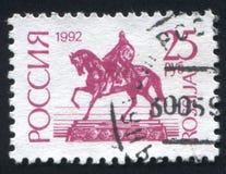 Monument to Yuri Dolgoruky Moscow. RUSSIA - CIRCA 1992: stamp printed by Russia, shows Monument to Yuri Dolgoruky, Moscow, circa 1992 Stock Photography