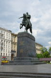 The monument to Yuri Dolgoruky on Tverskaya square, Moscow, Russia. Moscow, Russia - may 27, 2016: Monument to founder of Moscow Prince Yuri Dolgoruky city Royalty Free Stock Image
