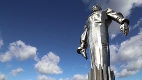 Monument to Yuri Gagarin 42.5-meter high pedestal and statue, the first person to travel in space. Moscow, Russia. Monument to Yuri Gagarin 42.5-meter high stock video