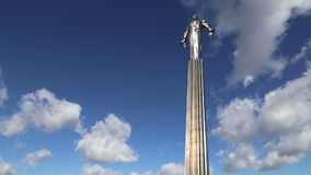 Monument to Yuri Gagarin 42.5-meter high pedestal and statue, the first person to travel in space. Moscow, Russia. Monument to Yuri Gagarin 42.5-meter high stock footage