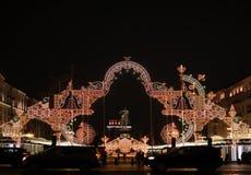 Monument to Yury Dolgorukiy on holidays of Christmas and new year. Stock Photography