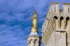 Monument on the top of cathedral in Avignon Royalty Free Stock Photo