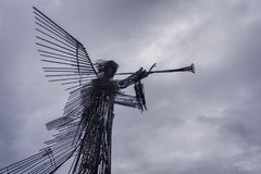 The monument `Trumpeting Angel` in the city of Chernobyl stock photos