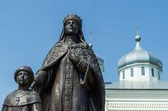 He monument of tsarina Eudoxia Streshneva Tsarevich Alexei Mikhailovich, Meshchovsk St. George monastery in the town of Meshchovsk Stock Image