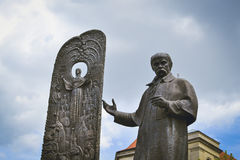 Monument of Ukrainian writer Taras Shevchenko. In the center of old town Lviv, Ukraine Royalty Free Stock Image