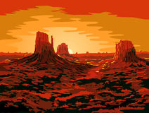 Monument Valley. Stock in the colors of the sunset Stock Photography