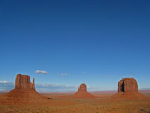 Monument Valley. The buttes in Monument Valley with clear blue sky Stock Image