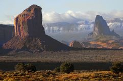 Monument Valley 7. Telephoto to show Size of Valley with Vermillion Cliffs in Background royalty free stock images