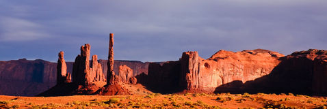 Monument Valley in Afternoon Light. Totem Pole and Yei Bi Chei on a late afternoon in the Monument Valley Tribal Park desert Stock Photography