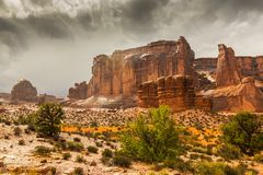 Monument Valley, Arizona, perspective scenery in autumn Royalty Free Stock Images