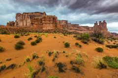 Monument Valley, Arizona, perspective scenery in autumn Royalty Free Stock Photos