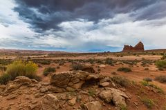 Monument Valley, Arizona, perspective scenery in autumn Royalty Free Stock Photography