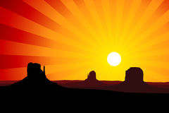 Monument Valley Arizona at Sunset, EPS8 Vector Stock Photography