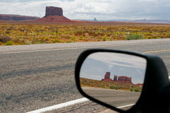 Monument Valley, Arizona, USA. Reflection in car mirror, Monument Valley, Arizona, USA Stock Photo