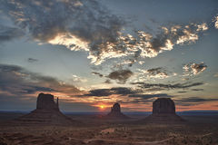 Monument Valley Arizona view at sunset Royalty Free Stock Image