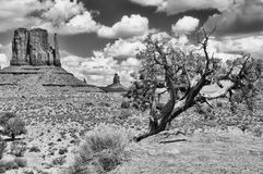 Monument valley black and white landscape view Royalty Free Stock Photography