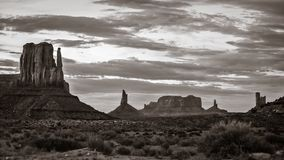Monument Valley. Black and white view of the northern side of Monument Valley with its famous line of pinnacles and spires. From left to right, the West Mitten Royalty Free Stock Photography