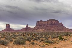 Monument Valley Buttes on Rainy Day royalty free stock photos