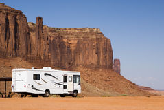 Monument Valley campground. Recreational vehicle camping in Monument Valley Stock Photo