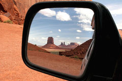 Monument valley in car mirror. Stock Images