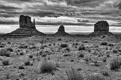 Monument valley cloudy sunrise black&white Royalty Free Stock Photo