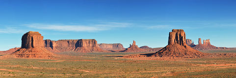 Monument Valley, desert canyon in USA, panoramic image Royalty Free Stock Photos