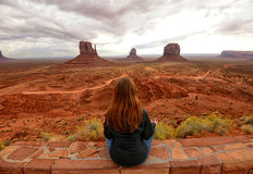 Monument Valley and desert meditation Stock Photo