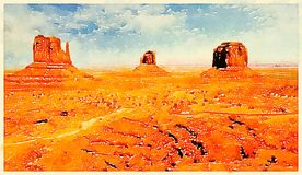 Monument valley. Digital watercolor of a butte in Monument Valley, Utah, USA Stock Photo