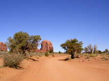 Monument Valley Dirt Road Stock Images