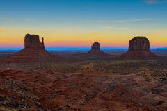 Monument valley at dusk, navajo nation Stock Images