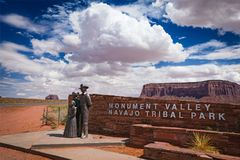 Monument Valley Entrance Sign Stock Images