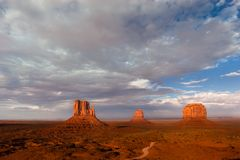 Monument Valley. Famous view of Monument Valley with Mittens and Merrick buttes Stock Photos