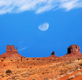 Monument Valley gibbous moon Stock Photography