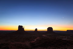 Monument Valley golden sunrise panorama Royalty Free Stock Photography