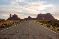Monument Valley, highway 163, Utah, evening sunshine Royalty Free Stock Photography