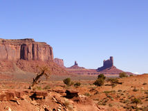 Monument Valley Landscape. Several of the red rock formations for which Monument Valley Tribal park is famous Royalty Free Stock Images