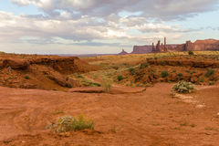 The Monument Valley landscape in the evening Royalty Free Stock Photos