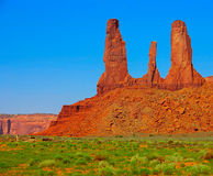 Monument Valley landscape with rock formations and blue sky Royalty Free Stock Photography